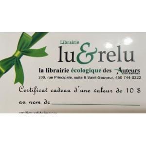 Carte Cadeau Librairie Lu&relu
